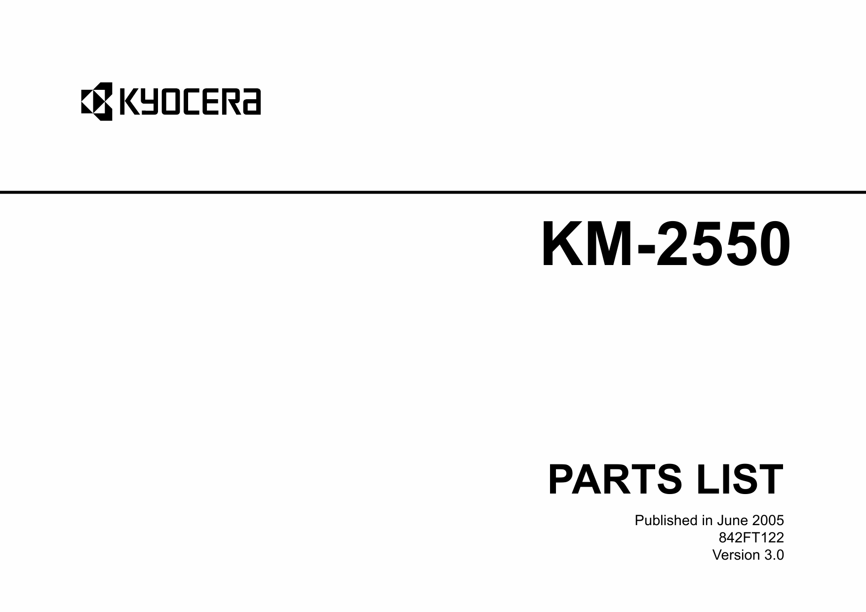 KYOCERA Copier KM-2550 Parts Manual-1